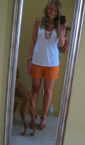 banana republic orange shorts 004