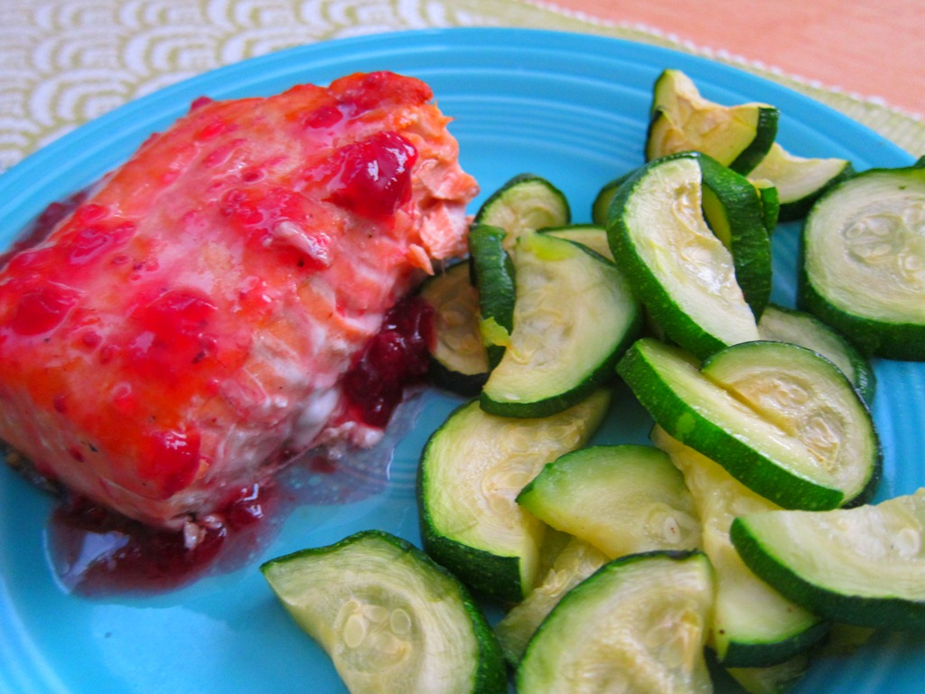 We enjoyed our fish with a side of roasted zucchini seasoned with ...