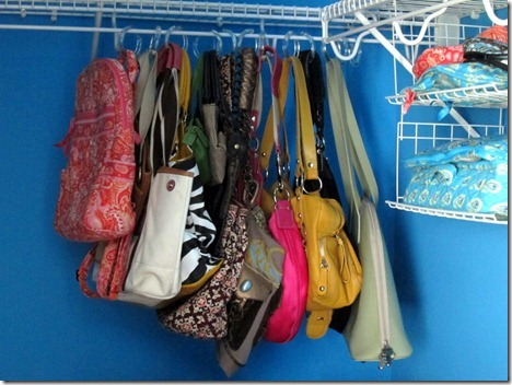 hanging purses with shower curtain holders 008