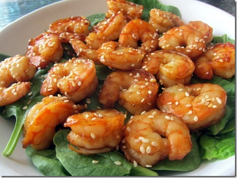 hoisin and sesame seed shrimp