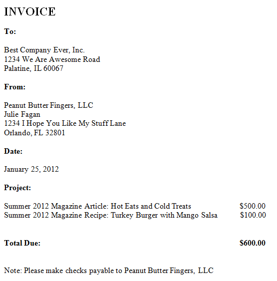 how to write a personal invoice