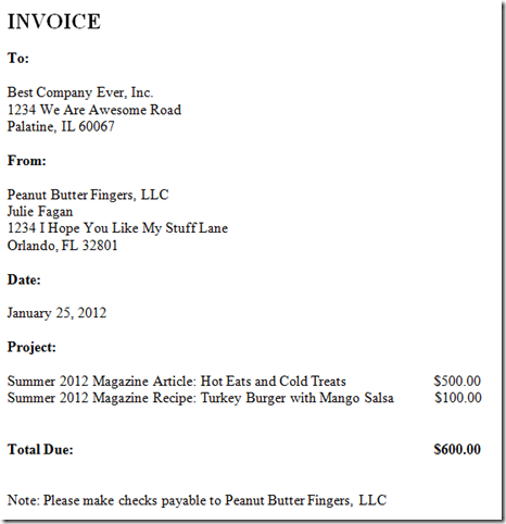 Writing Invoices  Written Invoice