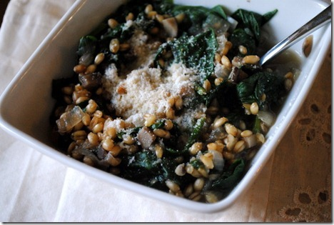mushroom spinach wheat berry risotto 005