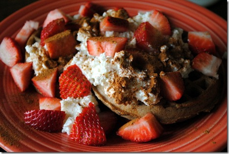 waffle with strawberries ricotta 019