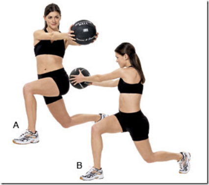walking lunge medicine ball twist