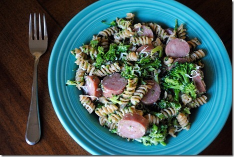 whole wheat pasta with chicken sausage 018
