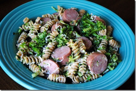 whole wheat pasta with chicken sausage 021