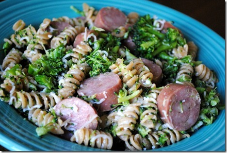 whole wheat pasta with chicken sausage 022