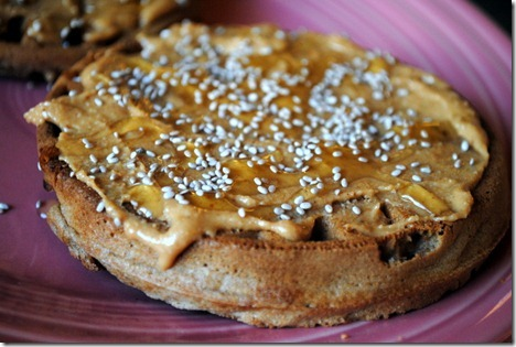 waffles with peanut butter