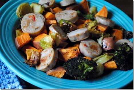 broccoli sweet potatoes chicken sausage