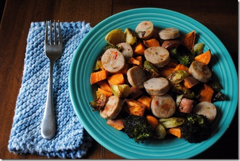 chicken sausage and roasted vegetables