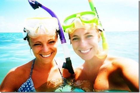 girls snorkling