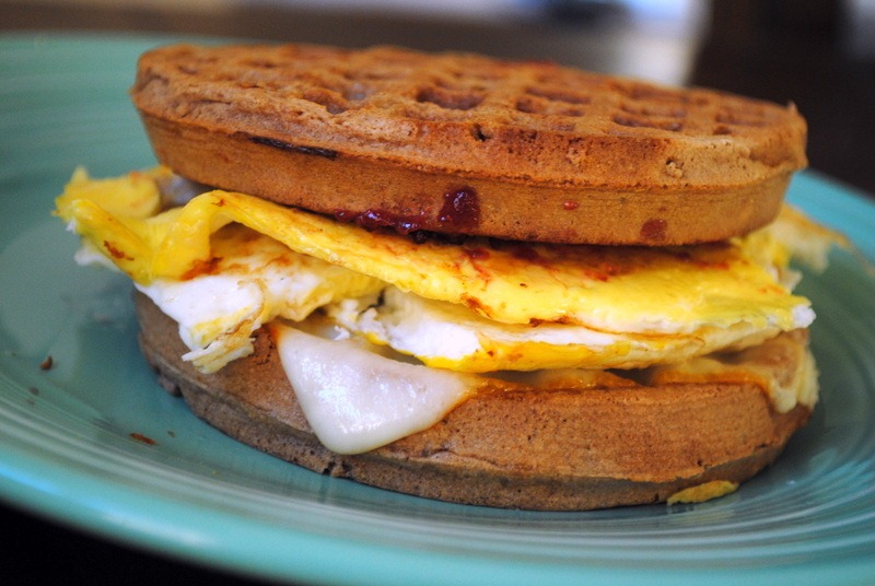 Egg And Cheese Waffle Sandwich Recipe — Dishmaps