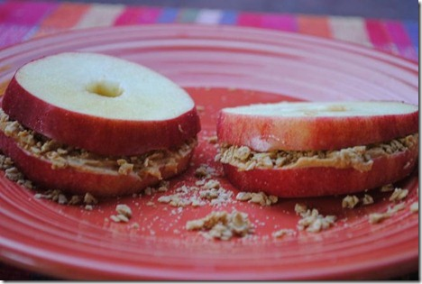 apple peanut butter granola sandwiches