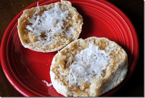 english muffin honey coconut