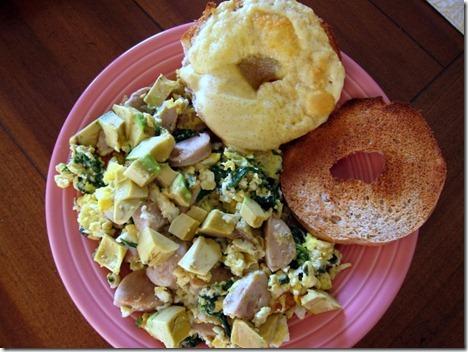 scrambled eggs chicken sausage