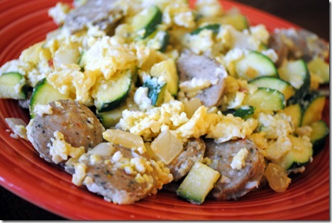 chicken sausage scrambled eggs zucchini onion