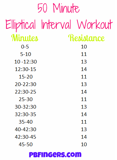 50 minute elliptical interval workout peanut butter fingers