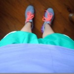 purple and green workout clothes