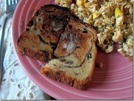 cinnamon raisin toast with butter