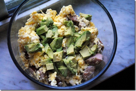 eggs sausage avocado