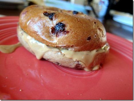 Bagel peanut butter sandwich