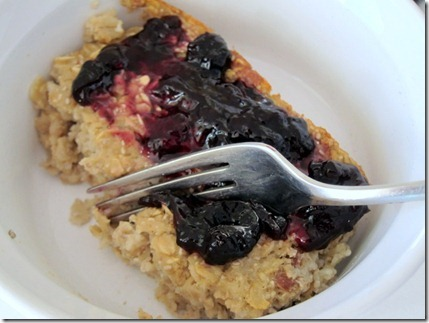 baked oatmeal topped with jelly
