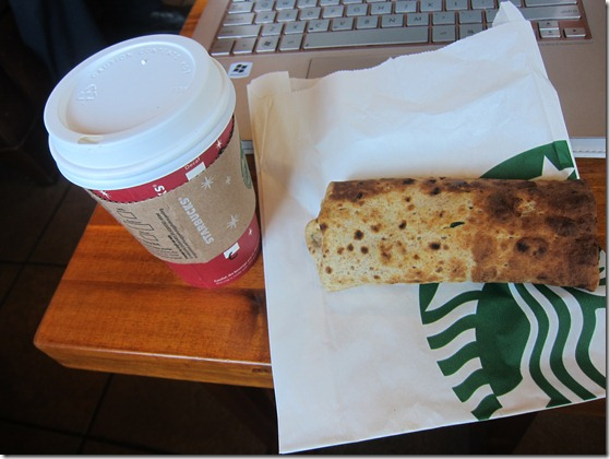 starbucks cappuccino and spinach wrap 105