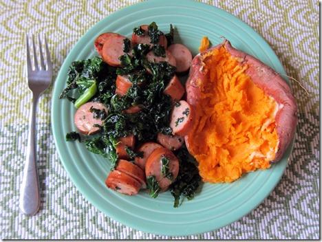 chicken sausage and kale skillet