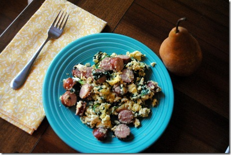 scrambled eggs with sausage