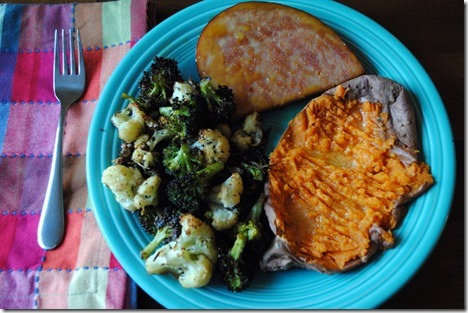 Ham steak sweet potato roasted broccoli and cauliflower