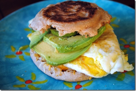 ... : Toasted whole wheat English muffin + Cheese + 2 eggs + Avocado