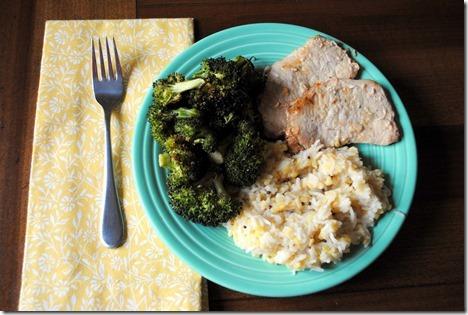 pork basmati rice broccoli