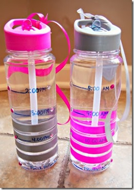 Increase your water intake - Water bottles with time deadlines!