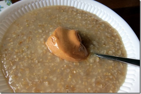 peanut butter on top of oatmeal
