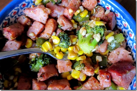 Ham Corn Broccoli Bowl
