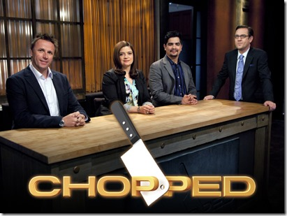 Chopped--Episode 905--Four Champion Chefs Compete for a $50,000 prize--Pictured L to R: Judges- Chefs Marc Murphy,  Alex Guarnaschelii, Aaron Sanchez, and Host Ted Allen -- as Seen on Food Network's Chopped Season 9
