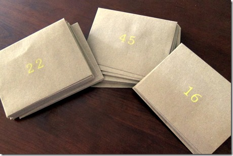 Envelopes Stamped with Numbers