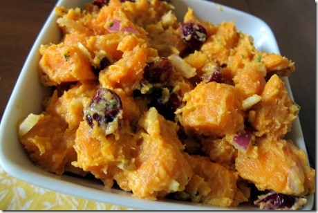 Sweet Potato Salad with Curry and Dried Cranberries
