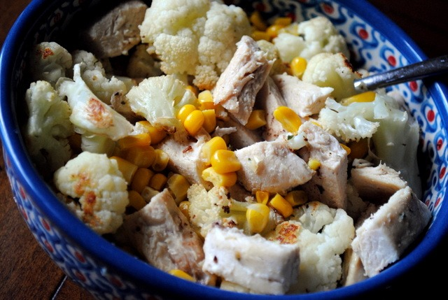 Chicken, Corn And Cauliflower Recipe — Dishmaps