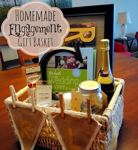 Homemade engagement gift basket peanut butter fingers for Homemade christmas gift baskets for couples