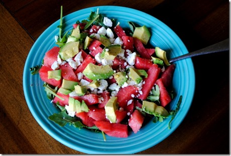 Watermelon feta avocado salad