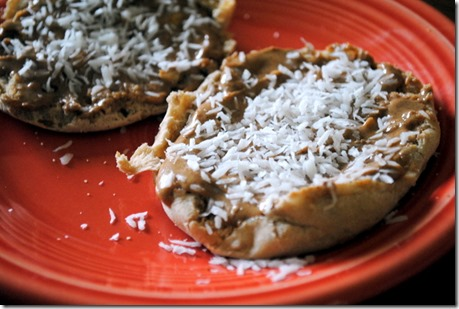 almond butter coconut english muffin