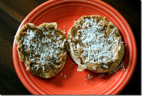 english muffin with almond butter and coconut