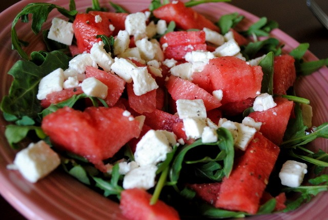 Watermelon + Arugula + Feta cheese + Olive oil + Salt + Pepper