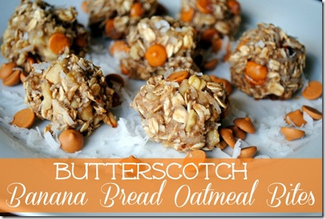 Healthy Butterscotch Banana Bread Oatmeal Bites - Egg free with no added butter or oil
