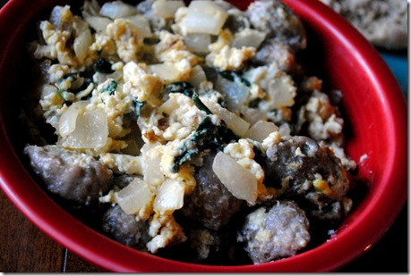 breakfast eggs sausage spinach