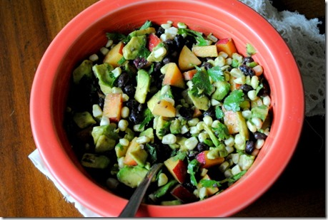 salad with nectarines and vegetables