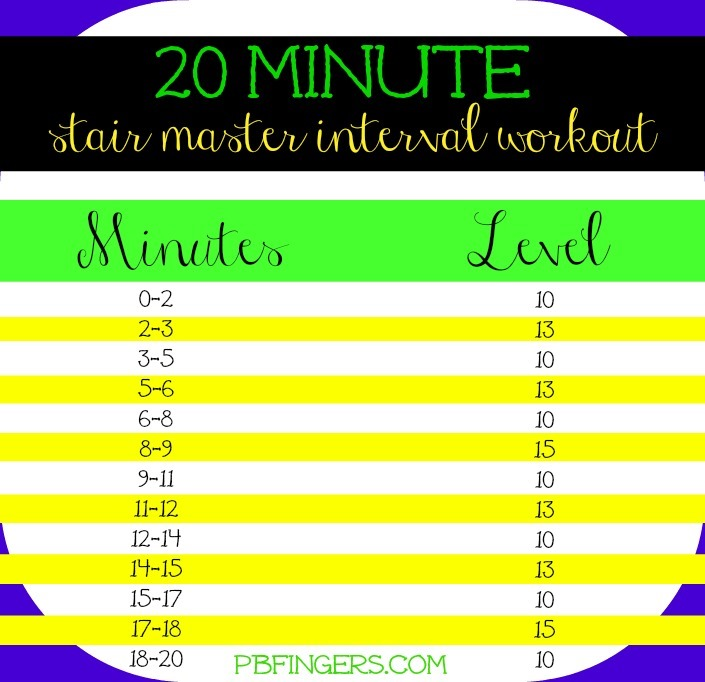 20 Minute Stair Master Interval Workout Peanut Butter Fingers
