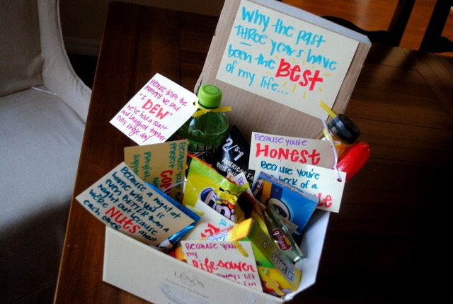 3 Wedding Anniversary Gift Ideas : attached little cards to various food and beverage items that I know ...